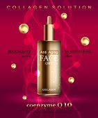 Coenzyme Q10. Anti age cream for face skin care with collagen serum. Cosmetic background with bottle. Vector illustration EPS 10 format poster