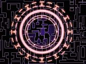 Abstract violet circuit patterns on black with red glowing gear wheel symbol in the center poster