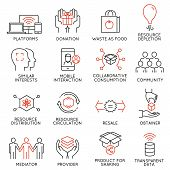 Vector set of 16 thin icons related to altruism cooperation collaborative consumption and volunteering. Mono line pictograms and infographics design elements poster
