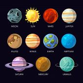 Planets of solar system vector cartoon set on dark sky space background. Mars and pluto, neptune and venus, uranus and saturn illustration poster