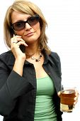 A beautiful and young party Woman with a mobile phone poster