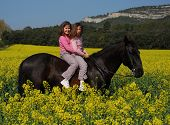 riding twins sisters and their friend black horse in a field poster