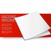 Blank magazine mockup template. Closed magazine. Red Line series. Realistic vector EPS10 illustration. poster