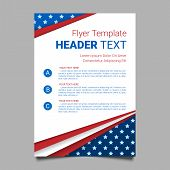 USA patriotic background. Vector illustration with text stripes and stars for posters flyers decoration in colors of american flag. Colorful template for National celebrations political campaigns. poster