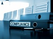 Compliance - Business Illustration. Compliance - Business Concept on Blurred Background. Compliance. Business Concept on Blurred Background. 3D Render. poster