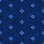 Watercolor royal blue velour seamless pattern renaissance tiling ornament. Indigo background with stylized heraldic lily. Blue velvet revival tracery design. Denim texture backdrop poster