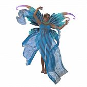 Fairy Saida on White 3D Illustration - A fairy is a creature of folklore and legend and has pointed long ears is small in stature and has wings. poster