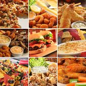 Collage of pub food including cheese burgers, wings, nachos, fries, pizza, ribs, deep fried prawns and calamari. poster