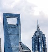 Shanghai's Jin Mao Tower and Shanghai World Financial Center SWFC poster