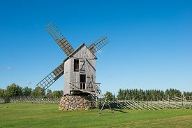 Old wooden windmill in Angla, island of Saaremaa, Estonia