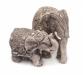 Elephant figurine isolated on white background. Flat.