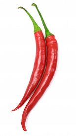 Two red hot chili pepper isolated on a white background. Flat.