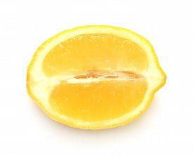 Lemon isolated on white background. Flat. Fruit. Half.