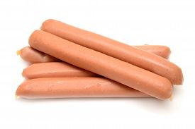 Sausage isolated on white background. Food. Flat.