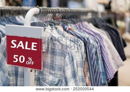Sale Shopping Season,sale 50% Off Label Sign Sticker In Front Of Shirt Shop ,sale Shopping Season Fo