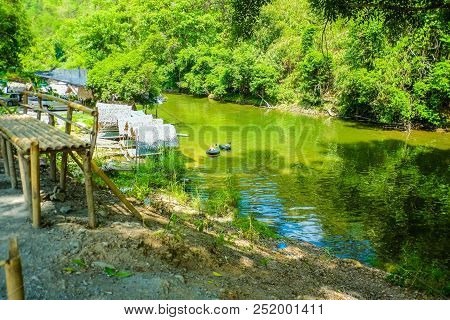 :beautiful River On Countryside Thailand,beautiful Nature Of Countryside Thailand,people Relax In Th
