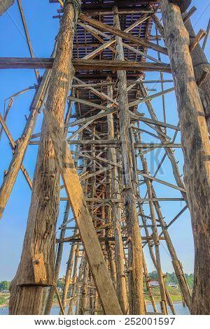Under Mon Bridge In Sangkhla Buri District Kanchanaburi Thailand,unseen Thailand,mon Bridge Structur