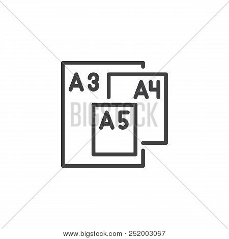 Paper Sizes Outline Icon. Linear Style Sign For Mobile Concept And Web Design. Paper Size Format Ser