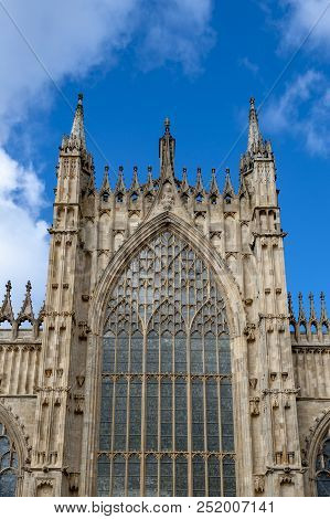 Elaborate Tracery On Exterior Building Of York Minster, The Historic Cathedral Built In English Goth