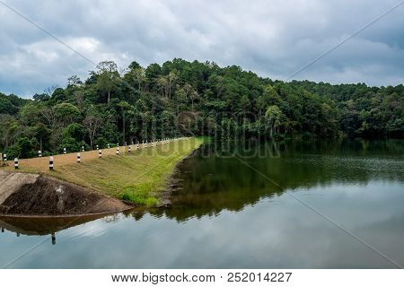 The Dam In The Valley With Walkway For Camping, Pang-ung Lake In The North (mae Hong Son) Of Thailan