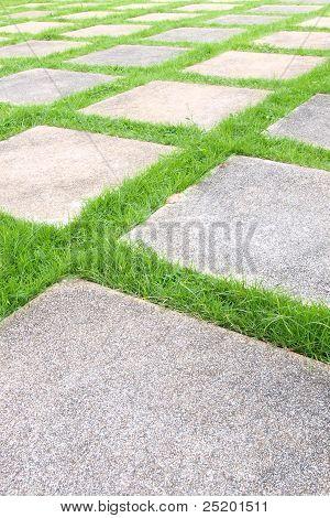 Beautiful Grass Tiles Walk Way In The Garden