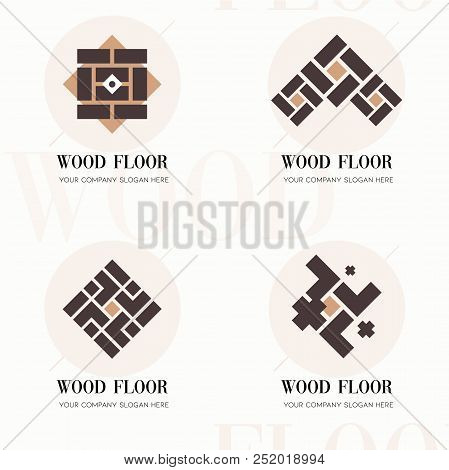 Wood Flooring Company Logos. Wood Flooring Company Logos In Flat Style For Website. Editable Vector