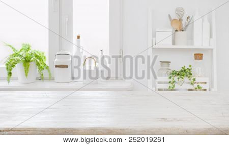 Empty Table Board And Defocused Modern Kitchen Wall Background Concept