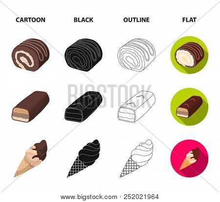 Dragee, Roll, Chocolate Bar, Ice Cream. Chocolate Desserts Set Collection Icons In Cartoon, Black, O