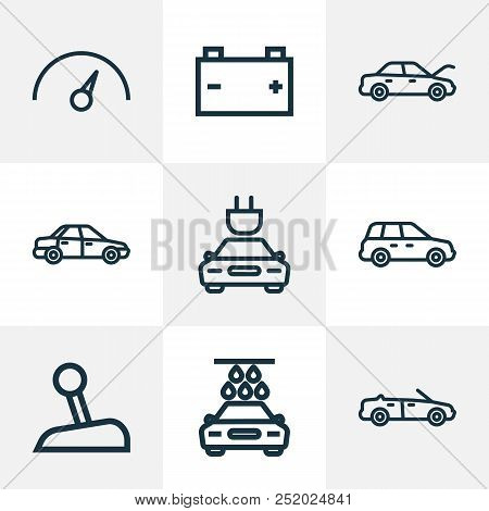 Car Icons Line Style Set With Cabriolet, Crossover, Speedometer And Other Car Elements. Isolated Vec