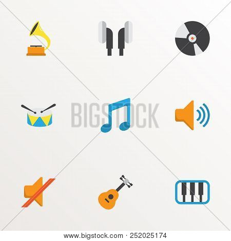 Music Icons Flat Style Set With Ear Muffs, Compact Disk, Musical And Other Acoustic Elements. Isolat