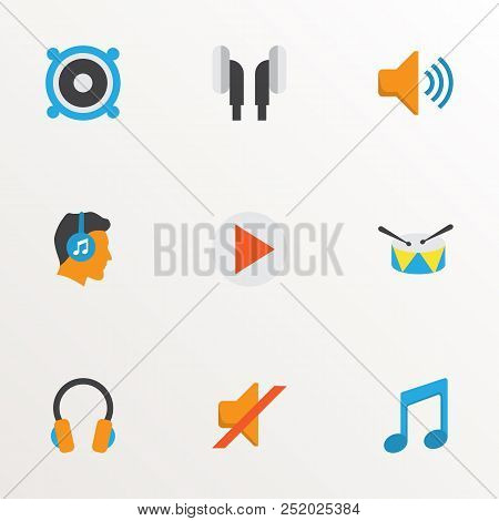 Audio Icons Flat Style Set With Earpiece, Ear Muffs, Silent And Other Band Elements. Isolated Vector