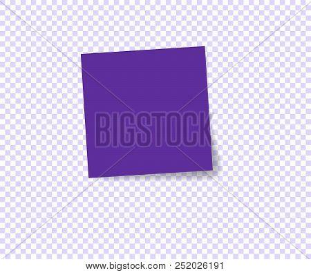Paper sticker with shadow on transparent background. Vector illustration. Violet design. Post sticky note. Sticker banner.