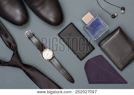 Necktie, Men's Shoes, Watch With Leather Strap, Mobile Phone, Ha