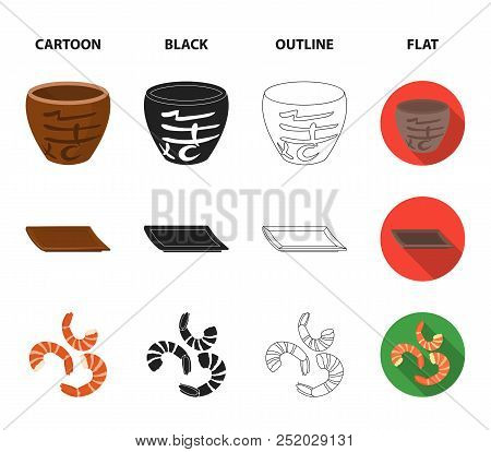 Sticks, Shrimp, Substrate, Bowl.sushi Set Collection Icons In Cartoon, Black, Outline, Flat Style Ve