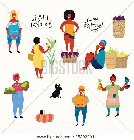 Big Harvest Set With Beautiful Women Picking Berries, Pumpkin, Vegetables, Fruit, Stomping Grapes, D