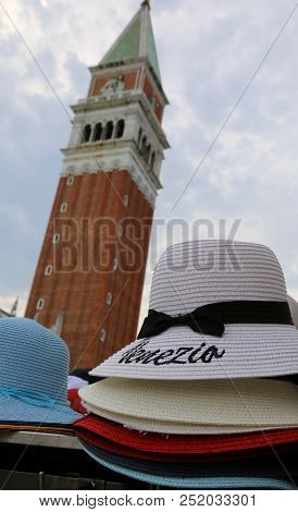 Hat With Text Venezia That Means Venice In Italian Language And The Bell Tower Of St.mark In Italy