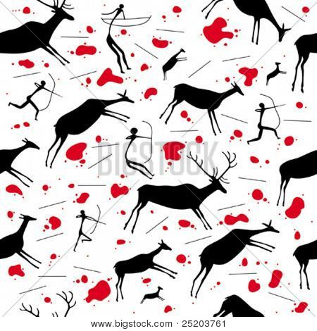 Hunters and deers. Vector seamless wallpaper based on cave paintings