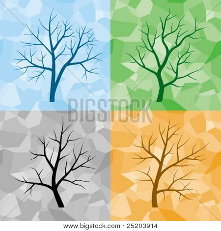 Four silhouette of trees on color seamless background. All colors easy for change