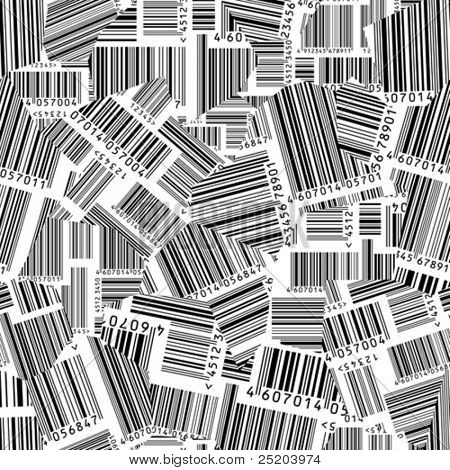 Barcodes torn. Vector seamless wallpaper. Lines and numbers easy for select on separated layers