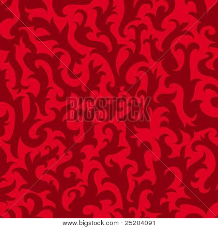 Abstract red floral wallpaper (seamless vector)