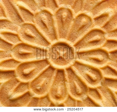 Closeup of pizzelle holiday cookie