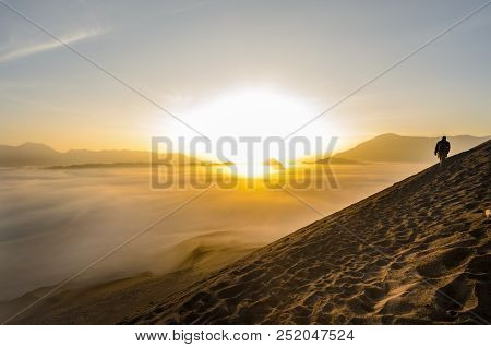 Bromo Volcano Crater Is A Popular Touristic Spot In Java Indonesia