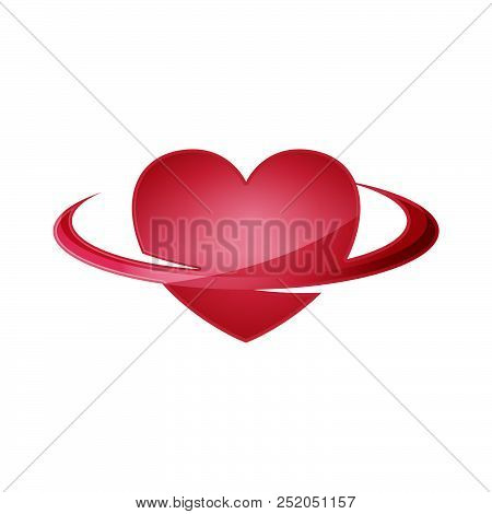 Abstract Red 3d Heart. Red Heart. Bright Red Heart. Shiny Red Heart. 3d Red Heart Isolated On White