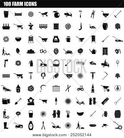 100 Farm Icon Set. Simple Set Of 100 Farm Vector Icons For Web Design Isolated On White Background
