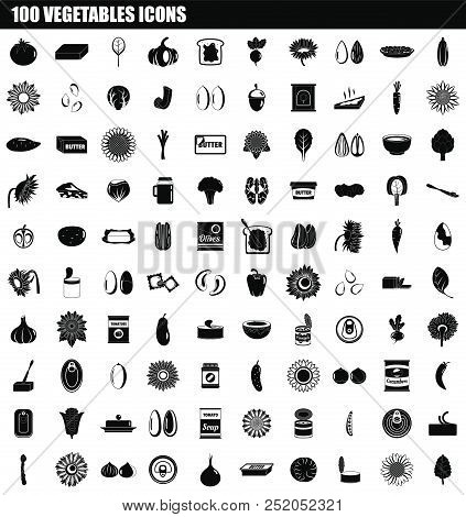 100 Vegetables Icon Set. Simple Set Of 100 Vegetables Vector Icons For Web Design Isolated On White