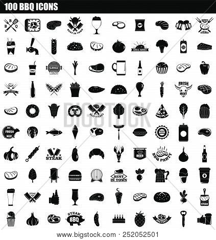 100 Bbq Icon Set. Simple Set Of 100 Bbq Vector Icons For Web Design Isolated On White Background