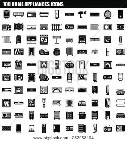 100 Home Appliances Icon Set. Simple Set Of 100 Home Appliances Vector Icons For Web Design Isolated