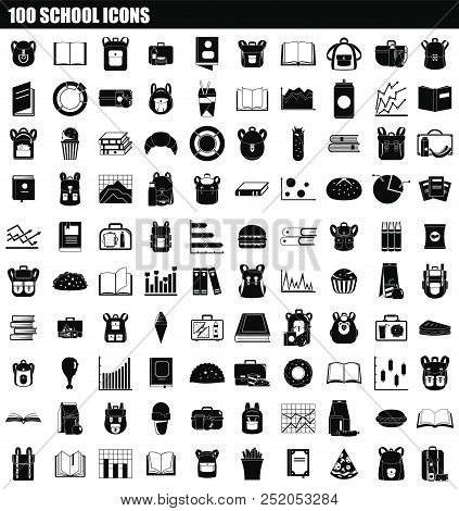 100 School Icon Set. Simple Set Of 100 School Vector Icons For Web Design Isolated On White Backgrou