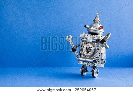 Robot Serviceman With Hand Wrench And Pliers. Fixing Maintenance Concept. Creative Design Mechanic T