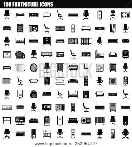 100 Furniture Icon Set. Simple Set Of 100 Furniture Vector Icons For Web Design Isolated On White Ba